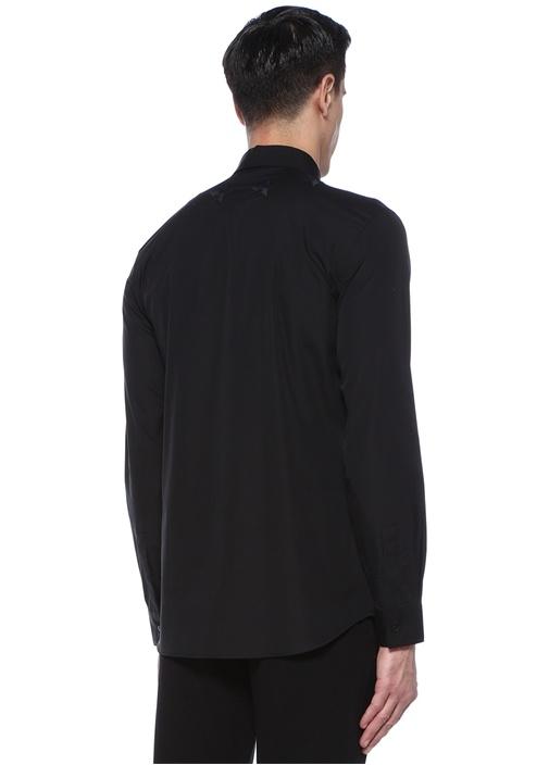 Siyah Yıldız Nakışlı İngiliz Yaka Gömlek