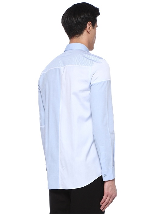 Mavi Düğmeli Yaka Çizgi Desen Detaylı Gömlek