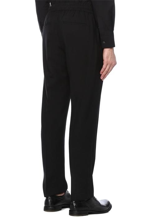 Siyah Normal Bel Boru Paça Logo NakışlıPantolon