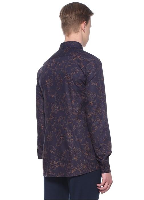 Lacivert Karışık Desenli Gömlek