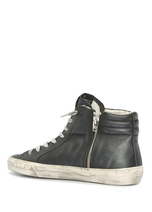 Slide Siyah Trok Detaylı Kadın Deri Sneaker