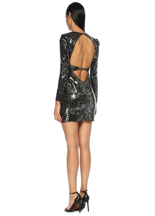 Silver V Yaka Leopar Desenli İşlemeli Mini Elbise