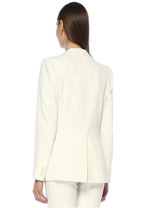 Praise Beyaz Kelebek Yaka Tek Düğmeli Blazer Ceket