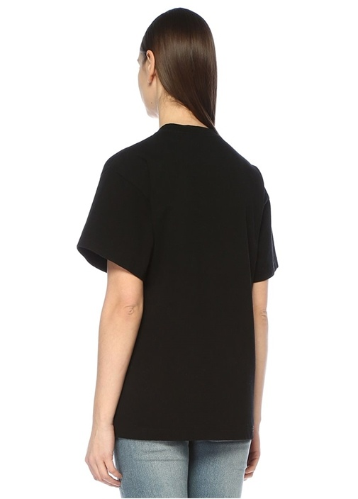 Yates Siyah Bisiklet Yaka Baskılı T-shirt