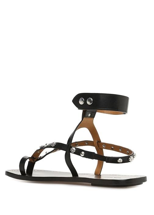 Jano Siyah Silver Troklu Kadın Deri Sandalet