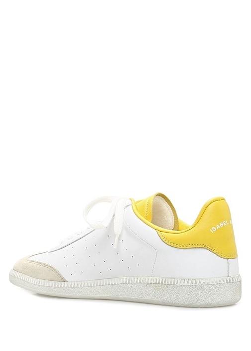 Bryce Beyaz Sarı Kadın Deri Sneaker