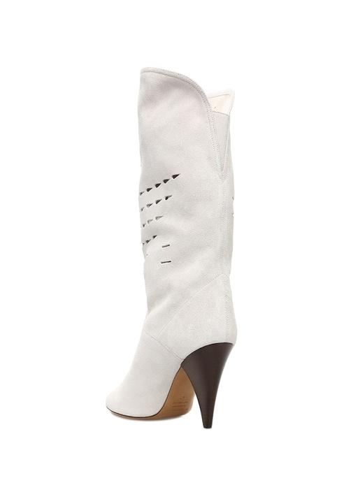 Lurrey Beyaz Lazer Kesimli Kadın Süet Çizme