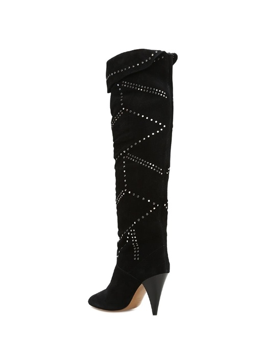 Ladra Siyah Silver Troklu Kadın Süet Çizme