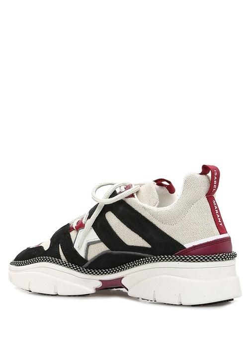 Kindsay Siyah Bej Garnili Kadın Süet Sneaker