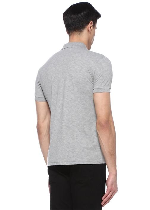 Slim Fit Gri Logo Nakışlı Polo Yaka T-shirt