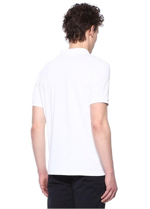 Comfort Fit Beyaz Polo Yaka Logolu T-shirt