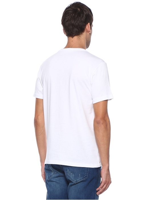 Beyaz Bisiklet Yaka Logolu Basic T-shirt