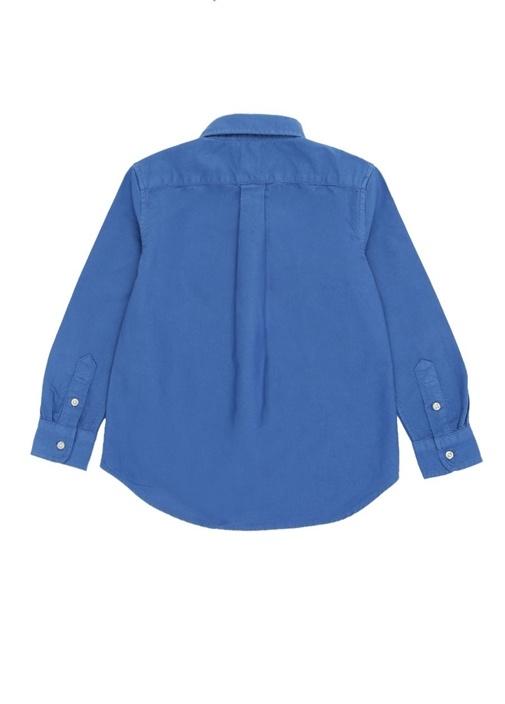 Mavi Düğmeli Yaka Logo Nakışlı Erkek Çocuk Gömlek