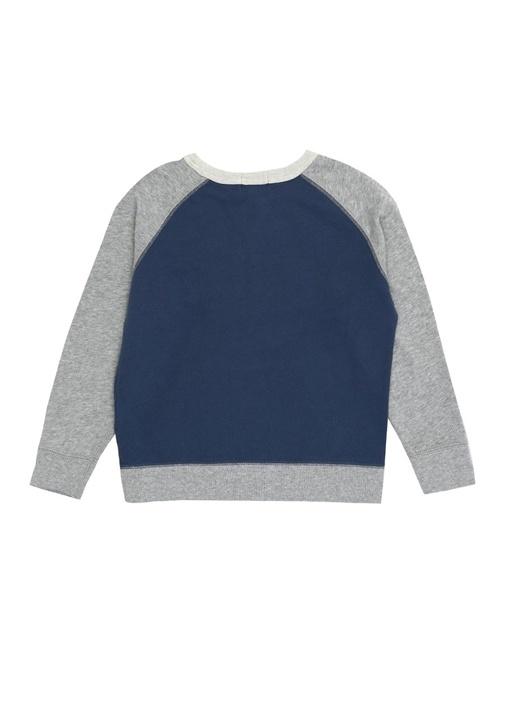 Mavi Gri Logo Patchli Erkek Çocuk Sweatshirt