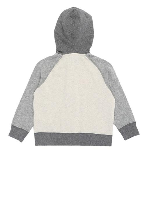 Ekru Kapüşonlu Logolu Erkek Çocuk Sweatshirt