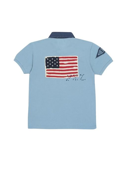 Mavi Polo Yaka Pike Dokulu Erkek Çocuk T-shirt