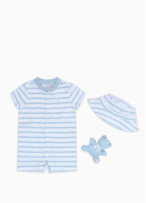 Mavi Beyaz Çizgili 3'lü Erkek Bebek Hediye Seti