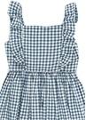 Mavi Beyaz Kareli Fırfır Detaylı Kız Çocuk Elbise