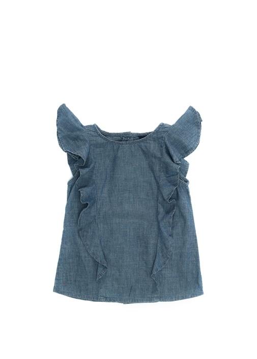 Mavi Fırfır Detaylı Kız Bebek Denim Gömlek