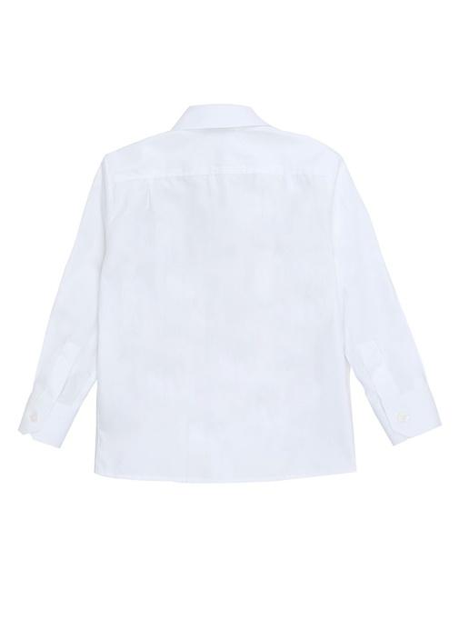 Beyaz Düğmeli Yaka Erkek Çocuk Gömlek