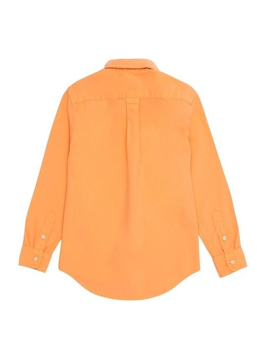 Turuncu Düğmeli Yaka Erkek Çocuk Gömlek
