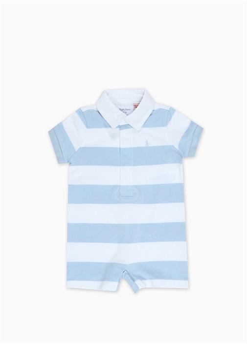 Mavi Beyaz Logo Nakışlı Erkek Bebek Tulum