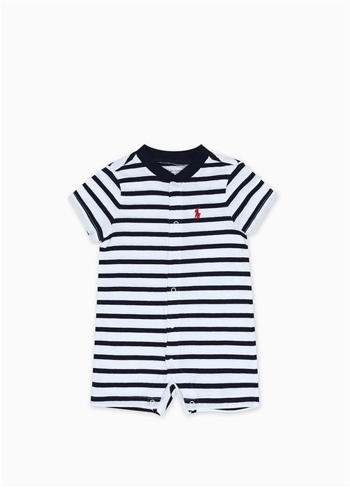 Lacivert Beyaz Çizgili Erkek Bebek Tulum
