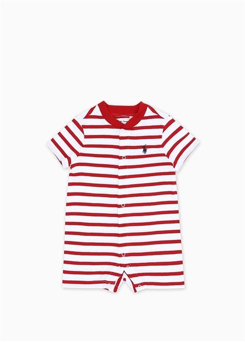 Kırmızı Beyaz Çizgili Erkek Bebek Tulum