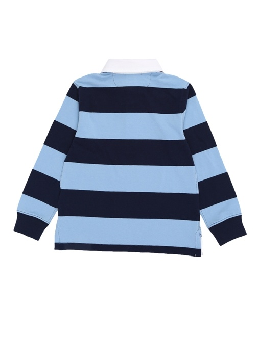 Lacivert Çizgili Polo Yaka Erkek Çocuk Sweatshirt