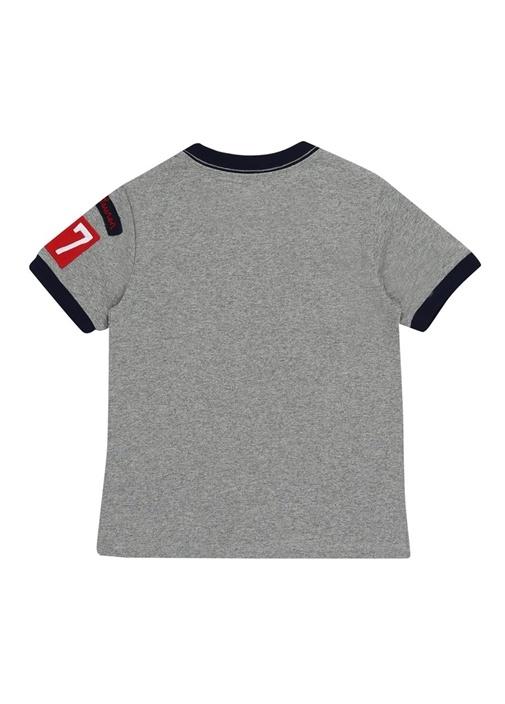 Gri Bisiklet Yaka Baskılı Erkek Çocuk T-shirt