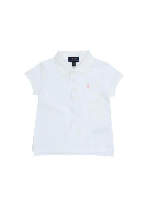 Beyaz Polo Yaka Pike Dokulu Kız Bebek T-shirt