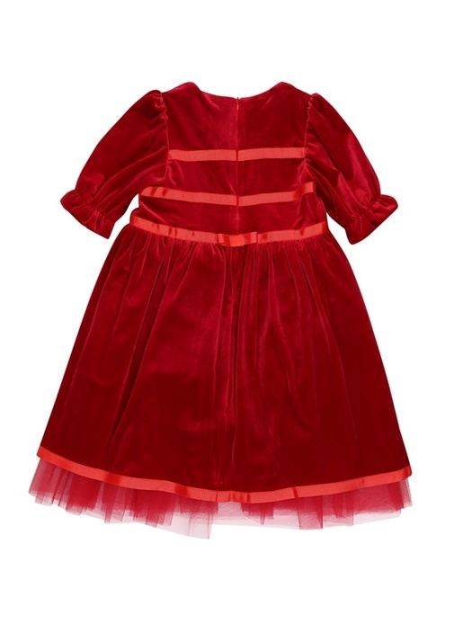 Royal Kırmızı Kadife Çocuk Elbise Ve Aksesuarı