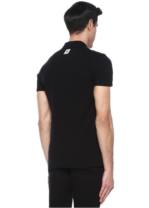 Siyah Logo Nakışlı Polo Yaka T-shirt