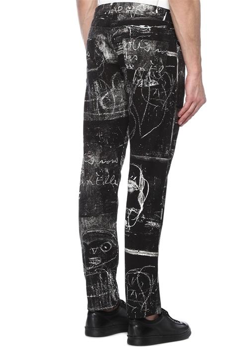 Siyah Karışık Desenli Dar Paça Jean Pantolon