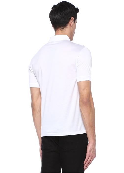 Beyaz Kuru Kafa Patchli Polo Yaka T-shirt