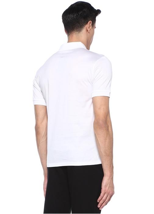 Beyaz Polo Yaka Kuru Kafa Patchli T-shirt