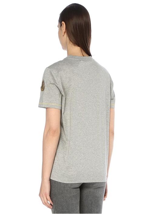 Gri Gold Dikiş Detaylı Jarse T-shirt