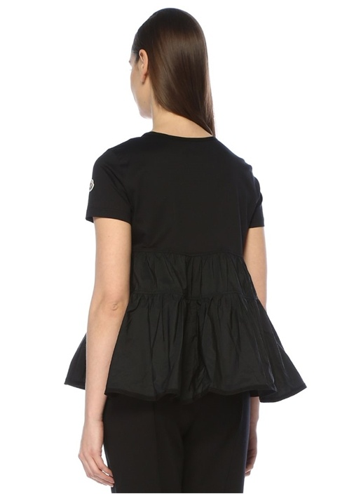 Siyah Bisiklet Yaka Garnili Fırfırlı T-shirt