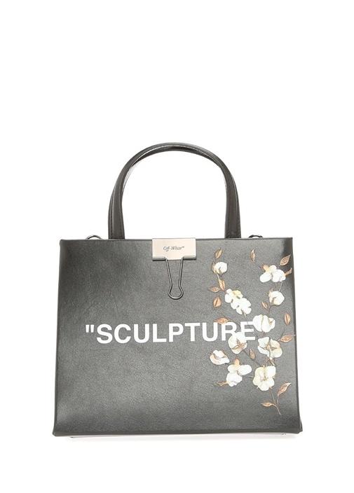 Off-whıte Siyah Yazı Baskılı Çiçekli Kadın Deri Çanta – 6950.0 TL