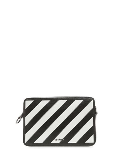 Off-whıte Siyah Beyaz Diyagonal Baskılı Kadın Deri Çanta – 6250.0 TL