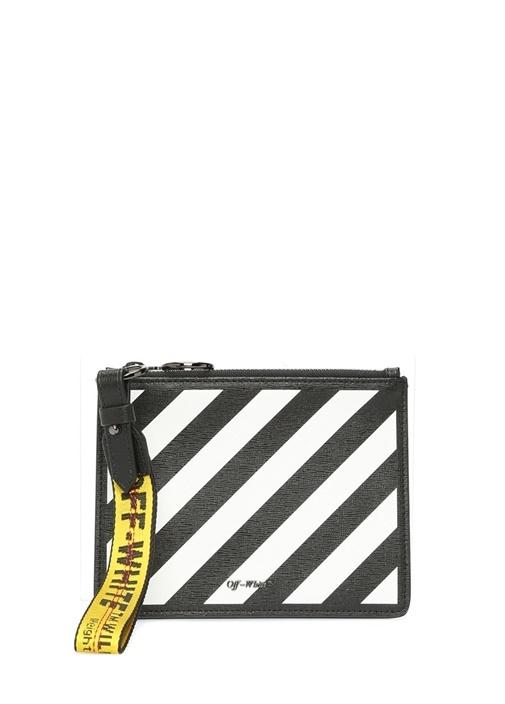 Off-whıte Siyah Beyaz Çizgili Logolu Kadın Deri El Portföyü – 4099.0 TL