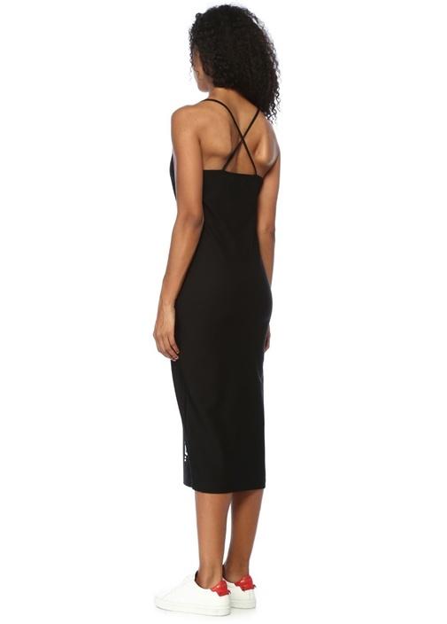 Siyah Sırtı Çapraz Askılı Baskılı Midi Elbise