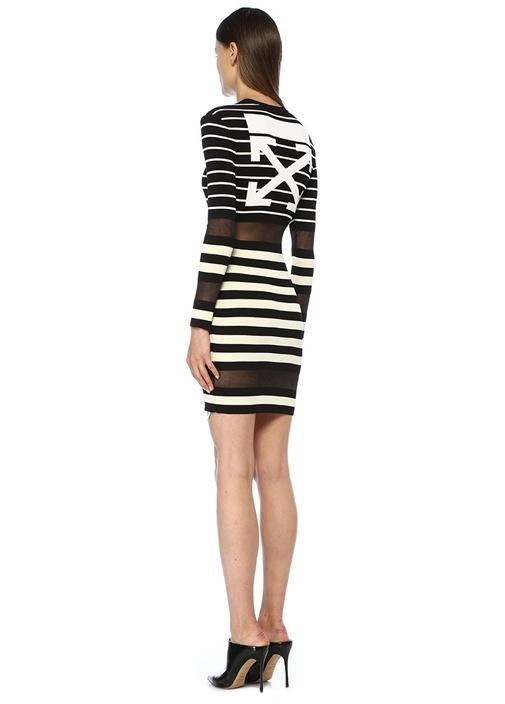 Siyah Beyaz Çizgili Transparan Mini Triko Elbise