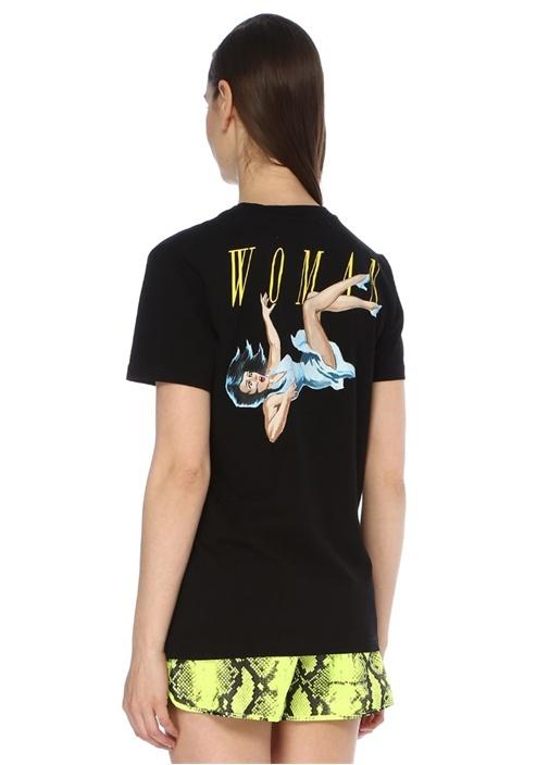 Woman Siyah Bisiklet Yaka Baskılı T-shirt