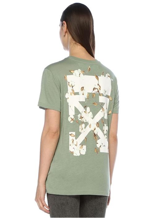 Haki Bisiklet Yaka Baskılı T-shirt