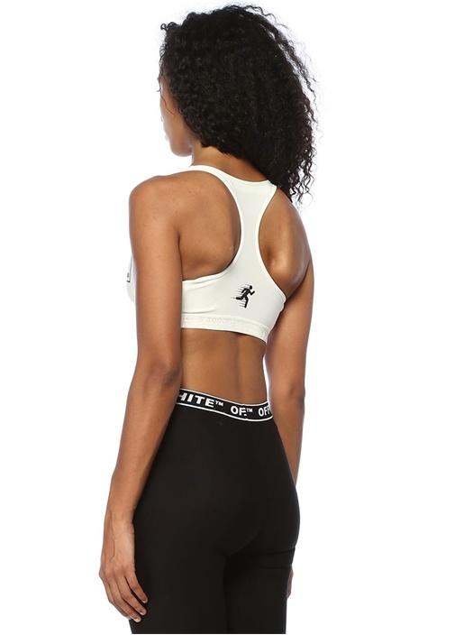 Beyaz Logo Baskılı Basic Crop Atlet