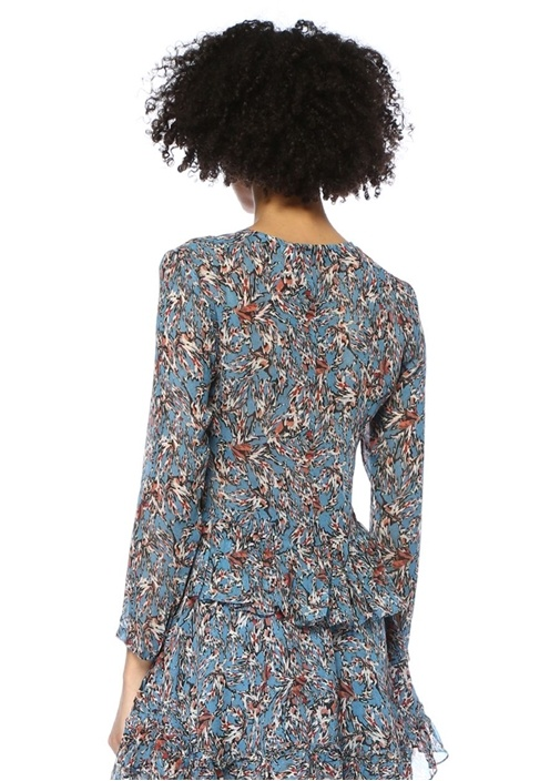 Gosh Mavi V Yaka Çiçekli Fırfırlı Crop Bluz