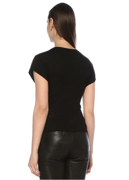 Nippy Siyah Önü Drape Detaylı T-shirt