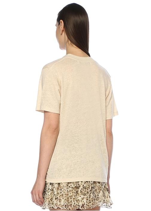 Jahal Ekru Derin V Yaka Keten T-shirt