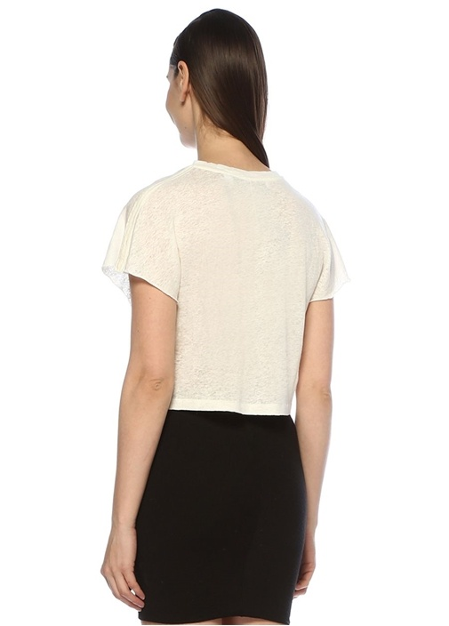Seemly Beyaz Yaka Detaylı Keten T-shirt